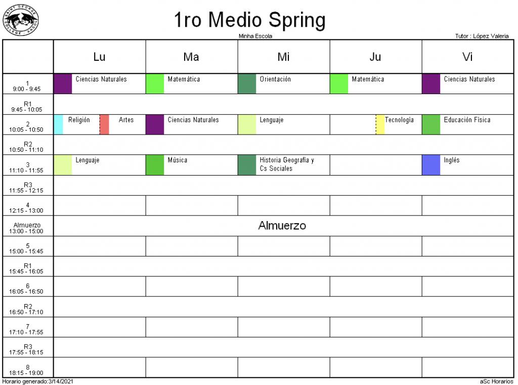 1° Medio Spring