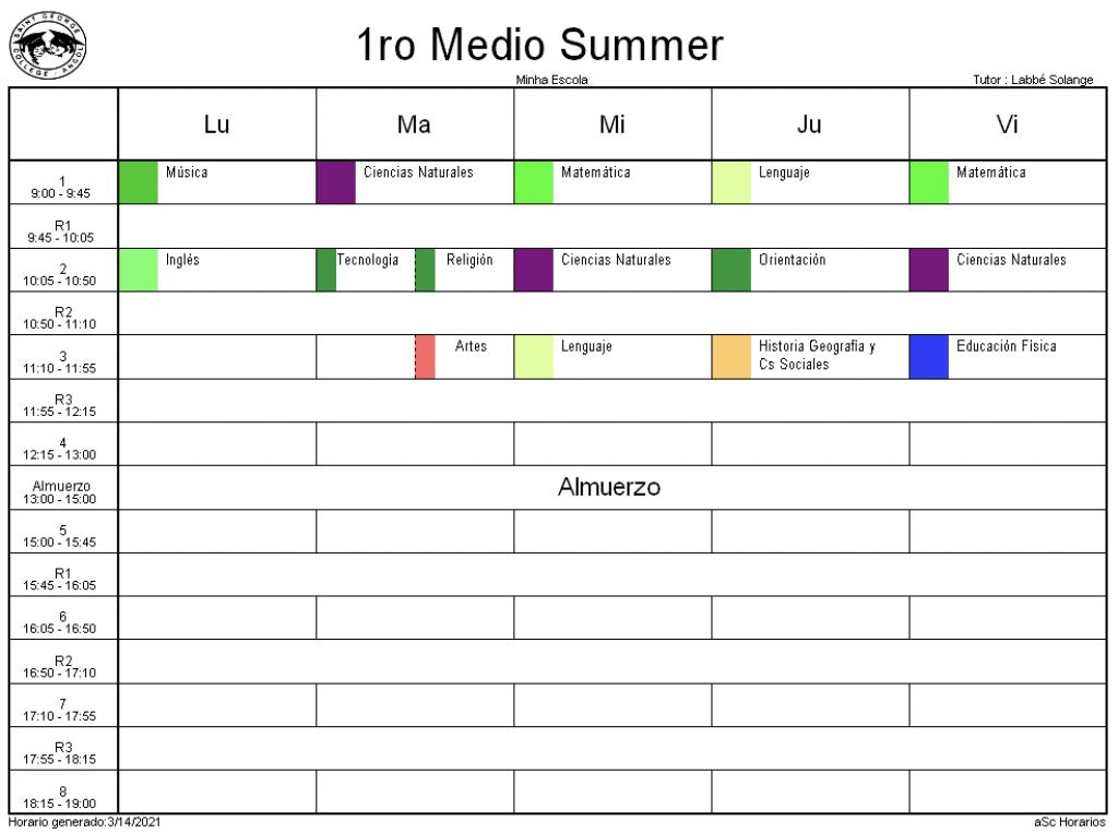 1° Medio Summer